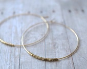 Hoop Earrings, Large Gold Plated Hoops with Gold Rugged Edged Beads, Gold Hoop Earrings,