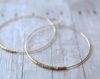 Hoop Earrings, Large Gold Plated Hoops with Gold Rugged Edged Beads, Gold Hoop Earrings,