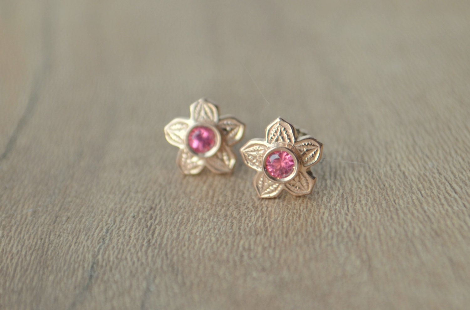 rose gold flower earrings flower studs spinel studs mahenge