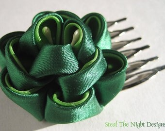Bright Greens - Peony Hair Ornament