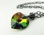 Rainbow Necklace Crystal Heart Necklace Dark Silver Necklace Gunmetal Beaded Rainbow Necklace