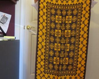 Vintage Tapestry Scandinavian / Wall Hanging Klokkestreng / Woolen runner geometric art / Norwegian carpet / Traditional Folk art  2' x 4'