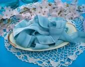 Robin's Egg- Hanah Silk Velvet Ribbon, 4 yds., 1.5 in. wide