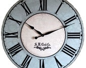 36 inch North Haven Large Wall Clock - antique style big roman blue cream round porcelain crackle