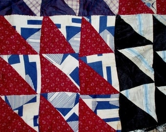 "33 ANTIQUE QUILT BLOCKS 9-patch,9""x9 blocks 1920's,two large sections,all hand sewn,flowers,geometrics,plaids"