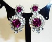 Magnificent W. Germany Diamond & Ruby Rhinestone Clip Earrings on Etsy by APURPLEPALM