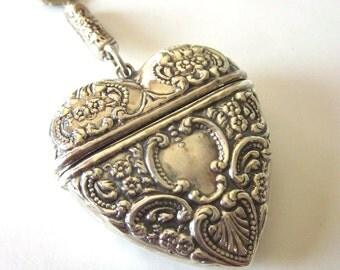 Sterling Silver Heart Vesta Case Vintage Silver Filigree Necklace Vesta Match Safe Holder Heart Locket