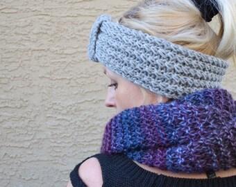 Headband knit wool acrylic grey Christmas gift for her