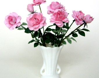 Flower Kit PINK STANDARD ROSES  for dollhouse garden, miniature flower, scrapbooks