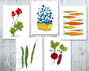 Garden Illustration Art Print 5 Pack - Instant Download 8x10