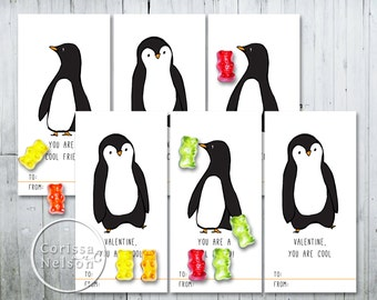 Penguin  Valentine Card Printable - Kids Friends 6 per page