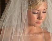 Bridal Blusher, CHAMPAGNE Veil - Raw Edge Veil - READY to SHIP