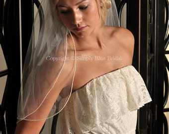 Two Tier Wedding Veil, Pearl Veil, Pearl Edge - White, Diamond White, Light Ivory or Ivory