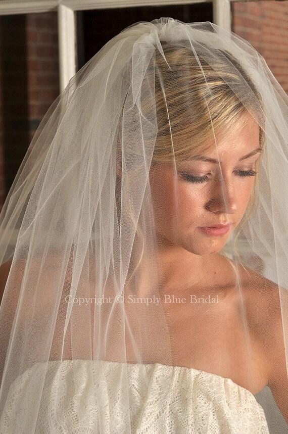 Bridal blusher champagne veil raw edge veil ready to ship for Veil for champagne wedding dress
