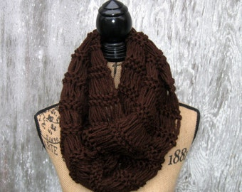 Hand Knit Cowl, Infinity Scarf, Chocolate Brown,  Eternity Scarf, Winter Accessories, Handmade by Norma