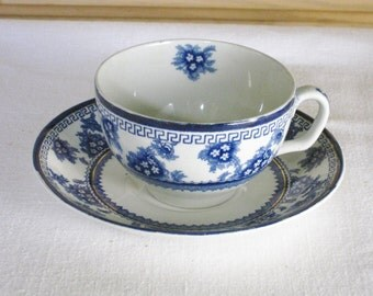 Vintage Blue and White Transferware Cup and Saucer, Burlsem China Gold Gilt Antique Teacup 1909 - 1937