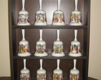 Vintage Franklin Mint Bell Collection, The Romance Of Camelot, Twelve different Bells, Porcelain Bone China, Wood Display Hanging Shelf