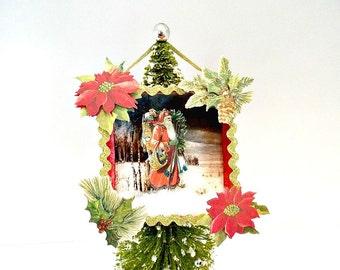 Santa Claus, Shadowbox, Christmas Ornament, Christmas, Home Decor, Holiday, Shadow Box, Diorama, Retro