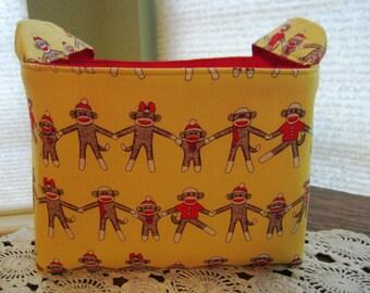 Fabric Organizer Storage Container Bin Basket - Sock Monkey Around Yellow