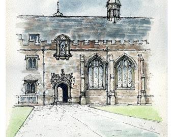 St John's College, Cambridge University 1984, Reproduction Fine Art Watercolour, Sylvia Burgoyne, Library Decor, Frameable Art