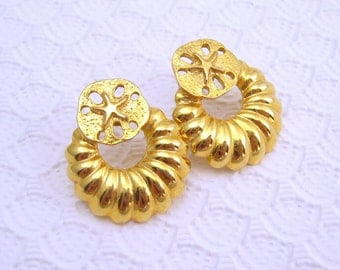 Sand Dollar Shrimp Hoop Earrings Vintage Jewelry
