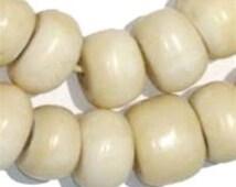40 Kenyan Recycled Bone Beads - White Bone Beads - African Bone Beads - Jewelry Making Supplies - Made in Kenya ** (BON-RND-WHT-237)