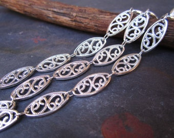 1FT Shinning Silver Filigree Oval Chain