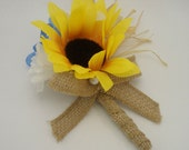 Sunflower Boutonniere with Burlap Ribbon,Wedding, Groom, Groomsmen, Buttonhole Flower, Best Man, Lapel Bloom, Bridal Party Gift