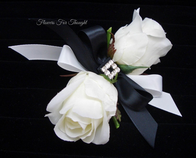 White Rose Corsage Black Ribbon Wedding Prom Homecoming