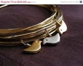 SPRING SALE 30% OFF Birds Nest Bangle - Set of 6 Gold Plated Bangles with 3 Birds