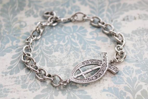 Rhinestone Jesus Fish Bracelet. Christian Jewelry