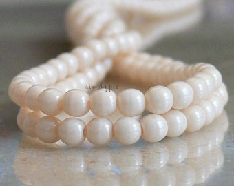 100 Opaque Luster Champagne Czech Glass Beads 4mm Round Druk