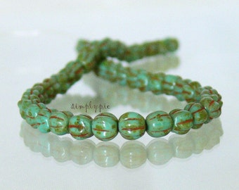 Turquoise Picasso Czech Glass Beads 5mm Melon 50