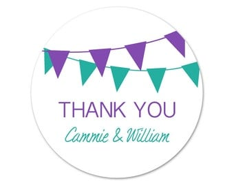 Custom Thank You Stickers - Wedding Favor Labels - Personalized Stickers - Thank You Labels - Custom Wedding Stickers - Pennants - Banners