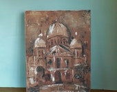 Original Oil Painting  on Canvas Mission Church In Sepia Tones Signed C. Babcock