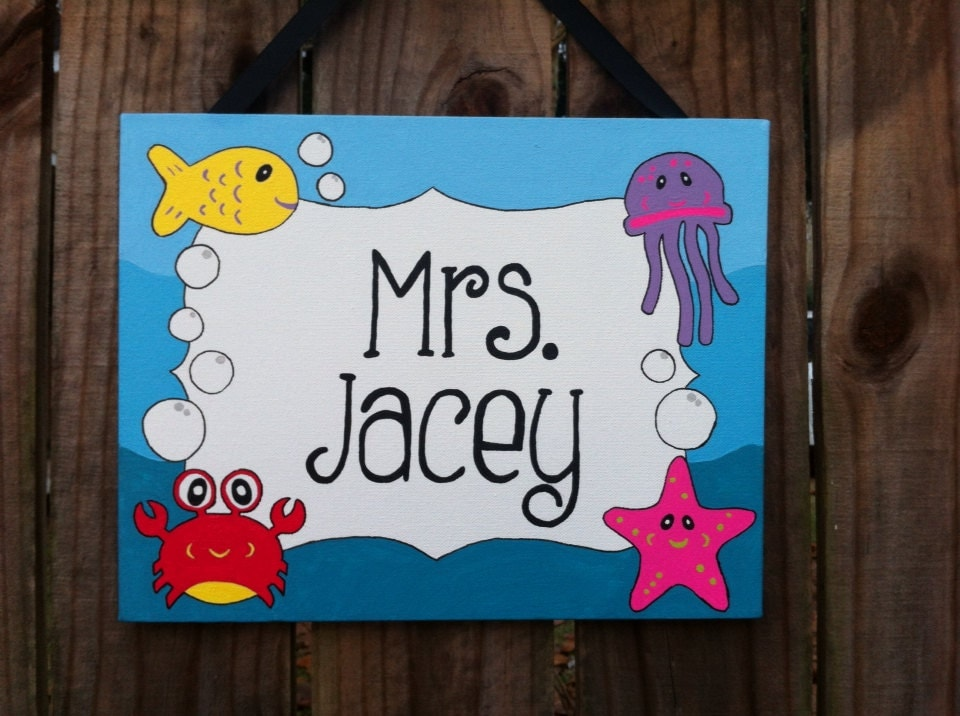Classroom Decor For Sale : Sale under the sea theme classroom door by lillouhandmade