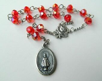 Red Infant Jesus of Prague Car Prayer Chaplet Rosary