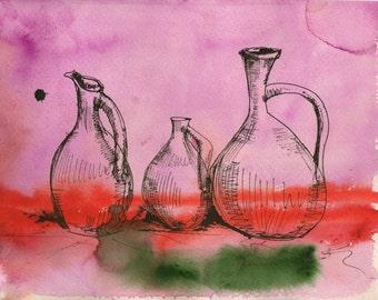 ANCIENT VASES,   Print from my original artwork.