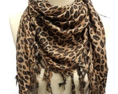 Men's scarf ,UNISEX Scarf ,Brown Leopard scarf, Tassel scarf ,animal print scarf  Rayon Square Scarf, stylish, gifts,man and ladies
