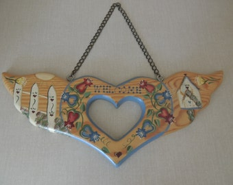 Heart Cut Out Tole Painted Welcome Wall Hanging. Quaint Country Folk Art Wood Welcome Sign