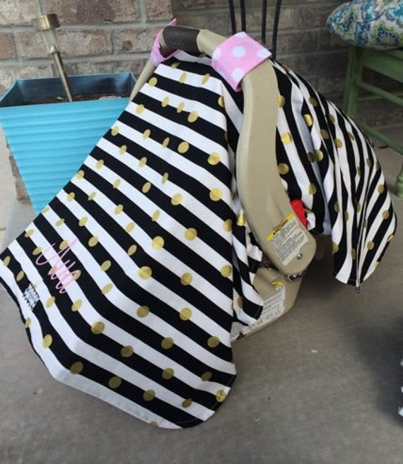 Carseat canopy Black Gold and Pink With Embroidery  / Car seat cover / car seat canopy / carseat cover / carseat canopy / nursing cover