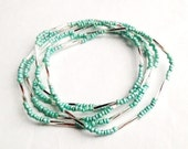 """Necklace - Beaded - Silver and Mint - """"Memories and Baggage"""""""