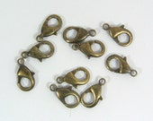 15mm x 9mm Lobster Clasps - Antique Brass - Choose Your Quantity