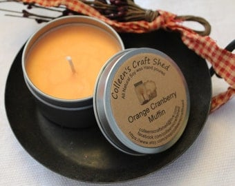 """Candle Soy wax """"Cranberry Orange Muffin"""" Handmade 6 oz candle tin"""