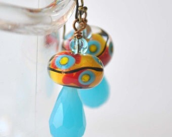 Colorful Earrings, Lampwork Earrings, Glass Bead Earrings, Orange Yellow Turquoise Earrings