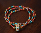 RESERVED Turquoise and Coral Ghost Beads Cedar berry Beads Necklace with Tibetan Yak Bone Prayer Bead