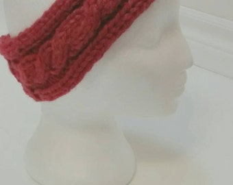 Rusty Red Cabled Hand Knit Ear Warmer Cozy Headband For Women