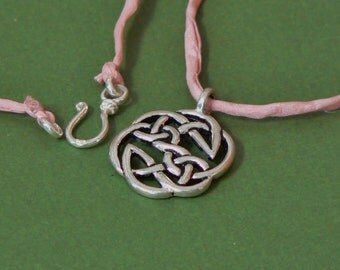 Celtic Knot Pendant Necklace, Sterling Clasp, Pink Silk Cord, 18 inches