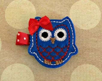 Baby Girl Fourth of July Owl Hair Clip- Baby Hair Clip- Toddler Hair Clip- Felt Hair Clip- Hair Clippie- Doll Hair Clip