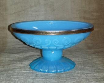 Avon Bristol Blue Pedestal Soap Dish with Gold Trim / 1970s Avon Translucent Opaline Blue Milk Glass Pedestal Dish